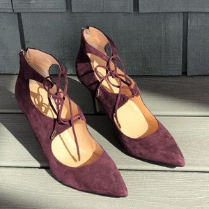 Ivanka Trump suede, lace-up, pointed toe pumps